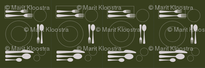 placemat formal tablesetting_silver on green
