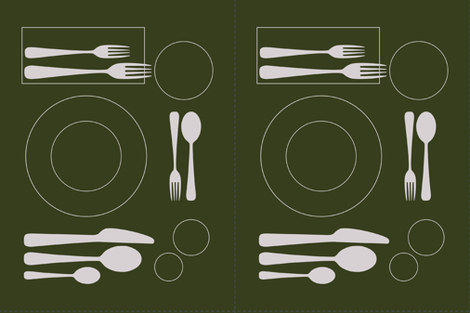 placemat formal tablesetting_silver on green fabric by zen_studio on Spoonflower - custom fabric