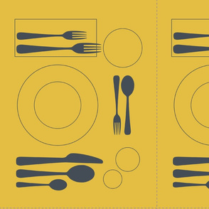 placemat formal tablesetting_silver on mustard
