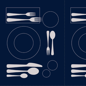 placemat formal tablesetting_silver on navy