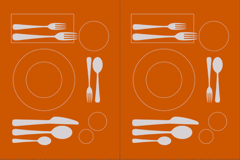 placemat formal tablesetting_silver on orange fabric by zen_studio on Spoonflower - custom fabric