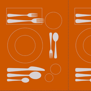 placemat formal tablesetting_silver on orange