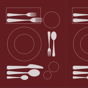 placemat formal tablesetting_silver on plum