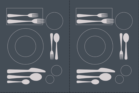 placemat formal tablesetting_silver on slate fabric by zen_studio on Spoonflower - custom fabric