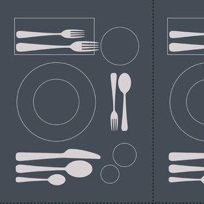 placemat formal tablesetting_silver on slate