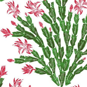 Christmas cactus damask in red and green