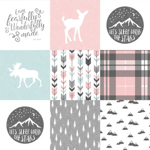fearfully and wonderfully made - pink, grey, aviary blue (fawn) 90