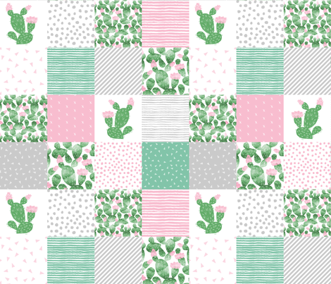 Cactus Cheater Quilt Baby Nursery Design Pink Green And Grey