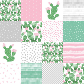 cactus cheater quilt - baby nursery design pink, green and grey