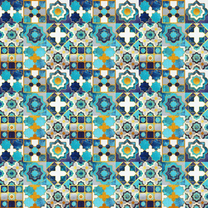 Spanish tiles inspiration // small scale // turquoise blue golden lines