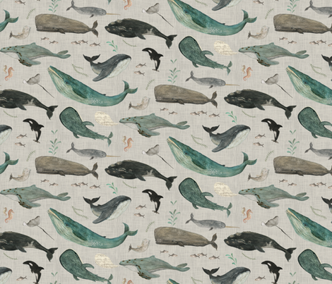 whale song gray fabric by katherine_quinn on Spoonflower - custom fabric