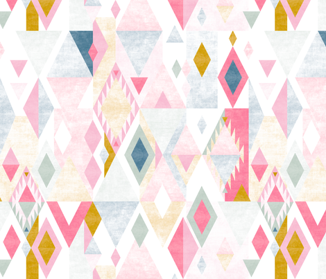 Inspired Kilim rug design by Mount Vic and Me fabric by mountvicandme on Spoonflower - custom fabric