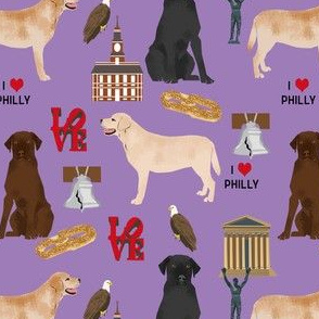 labrador in philly fabric - labrador retrievers cute dog design