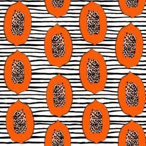 papaya // tropical fruit summer papayas fabric stripes
