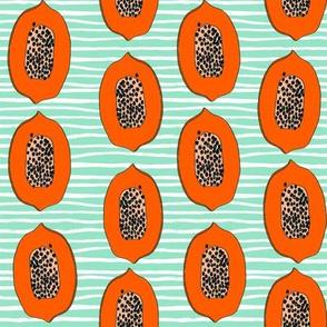 papaya // tropical fruit summer papayas fabric mint