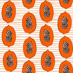 papaya // tropical fruit summer papayas fabric orange