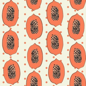 papaya // tropical fruit summer papayas fabric light