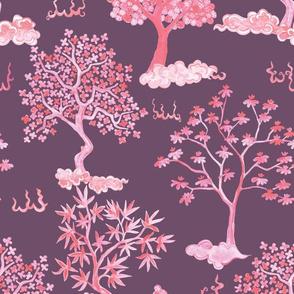 Tree Clouds- Valentine on Plum
