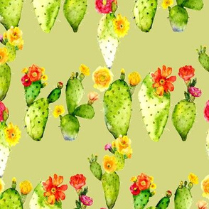 prickly pear watercolor cactus on spring green