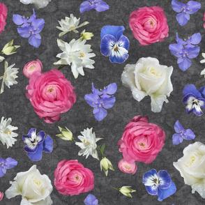 Ranunculus Rose Columbine over Black Lace