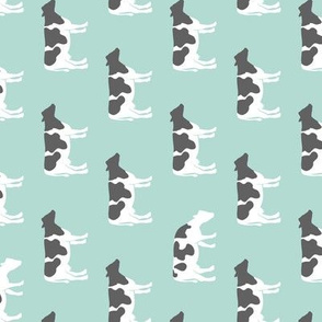 cows on dark mint - farm fabric (90)