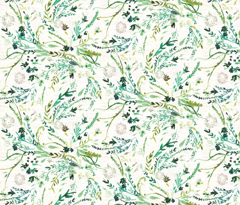 Fable Spring Leaves (MED) (white)  fabric by nouveau_bohemian on Spoonflower - custom fabric
