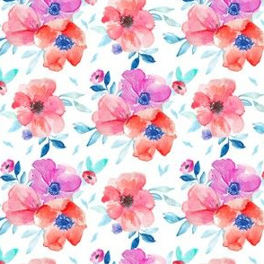 Watercolor Anemones On White