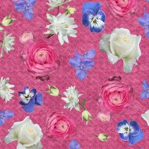 Ranunculus Rose Columbine med over Rose Lace