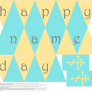 Cut-n-sew Name Day Banner in Gold and Teal