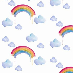 watercolour rainbows and clouds