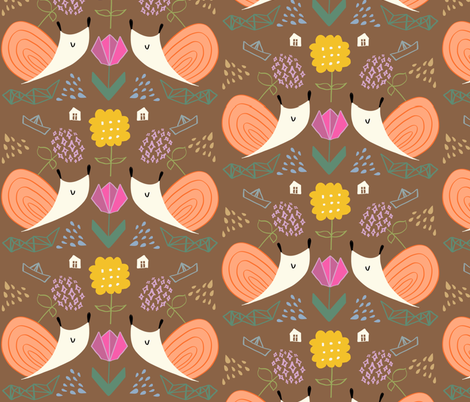 Snail and hydrangea flower fabric by canigrin on Spoonflower - custom fabric