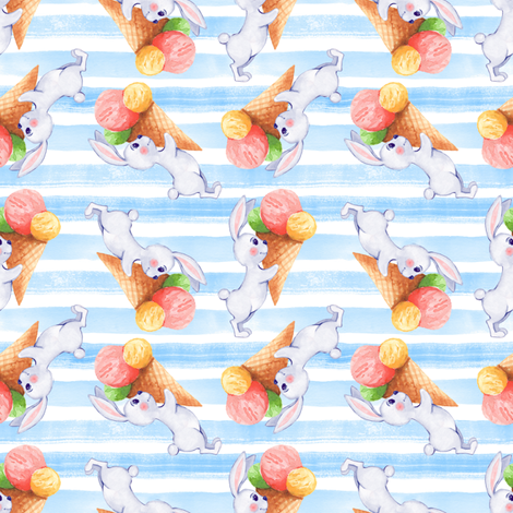 Bunny and Ice Cream 7 fabric by gribanessa on Spoonflower - custom fabric