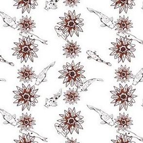 Koi Carp with Water Lilies