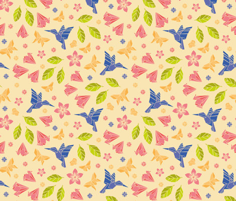 Origami_humming_spring fabric by kasumi_design on Spoonflower - custom fabric