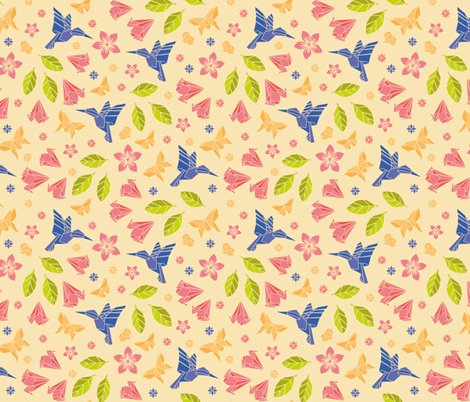 origami humming spring fabric by kasumidesign on Spoonflower - custom fabric