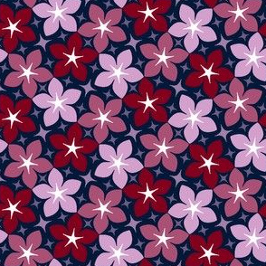07180520 : S43 floral : navy orchid burgundy