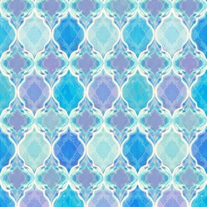 Blue Purple and Aqua Smudgy Moroccan Small