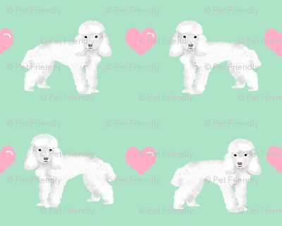 toy poodle white love love hearts dog fabric mint