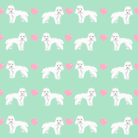 toy poodle white love love hearts dog fabric mint fabric by petfriendly on Spoonflower - custom fabric