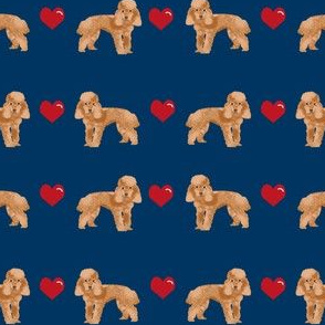 toy poodle apricot love love hearts dog fabric navy