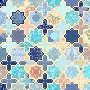 Navy, Peach and Aqua Moroccan Tile Pattern Small version