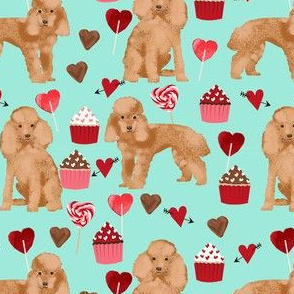 toy poodle apricot valentines day love cupcakes dog breed fabric mint