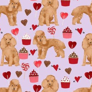 toy poodle apricot valentines day love cupcakes dog breed fabric purple