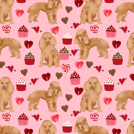toy poodle apricot valentines day love cupcakes dog breed fabric pink fabric by petfriendly on Spoonflower - custom fabric