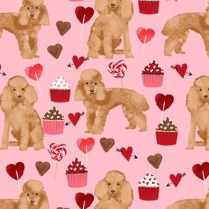 toy poodle apricot valentines day love cupcakes dog breed fabric pink