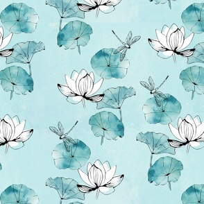 Waterlily dragonfly in mint green