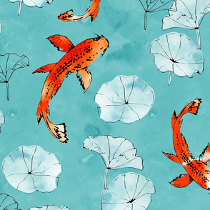 Waterlily koi in turquoise