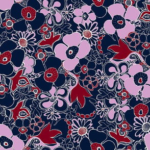 Floral Doodles in Orchid Navy Burgundy