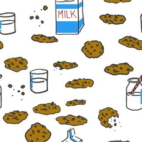 Cookies and Milk on White