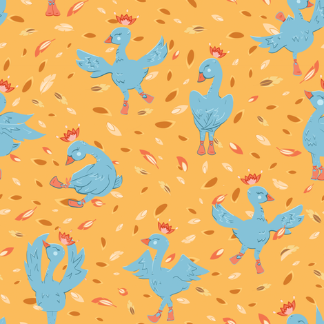 Swan Dance in Forest fabric by agnieszka_rycombel on Spoonflower - custom fabric